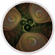 Spaceship Three Round Beach Towel
