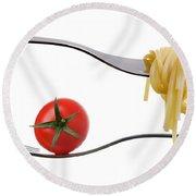 Spaghetti And Tomato On Fork White Background Round Beach Towel