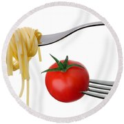 Spaghetti And Tomato On Forks Isolated Round Beach Towel
