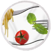 Spaghetti Basil And Tomato On Forks Isolated Round Beach Towel