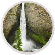 Spahats Falls Waterfall In Wells Gray Provincial Park Round Beach Towel