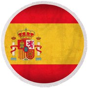 Spain Flag Vintage Distressed Finish Round Beach Towel