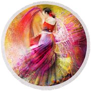 Spain - Flamencoscape 12 Round Beach Towel