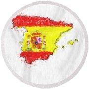 Spain Painted Flag Map Round Beach Towel