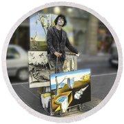 Painter In Spain Series 23 Round Beach Towel