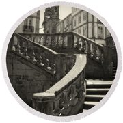 Plaza Stairs In Spain Series 24 Round Beach Towel