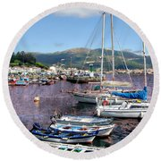 Boats In Spain Series 26 Round Beach Towel