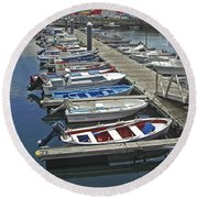 Row Boats In Spain Series 27 Round Beach Towel