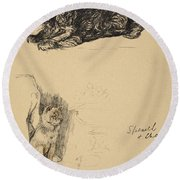 Spaniel And Chow, 1930, Illustrations Round Beach Towel