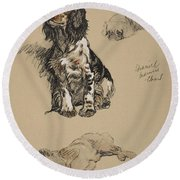 Spaniel, Pekinese And Chow, 1930 Round Beach Towel