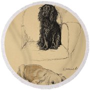 Spaniels, 1930, Illustrations Round Beach Towel by Cecil Charles Windsor Aldin