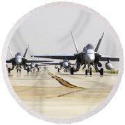 Spanish Air Force Ef-18m Hornets Round Beach Towel