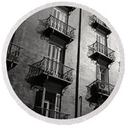 Spanish Balconies - Black And White Round Beach Towel