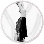 Spanish Cabaret Dancer Round Beach Towel