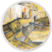 Spanish Harbour 05 Round Beach Towel