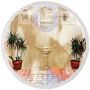 Spanish Patio 03 Round Beach Towel