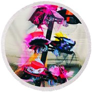 Spanish Town Parade Hats Round Beach Towel