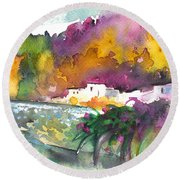 Spanish Village By The River 02 Round Beach Towel