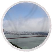 Spanning The Golden Gate Round Beach Towel