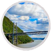 Spanning The Hudson River Round Beach Towel