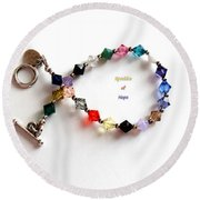 Sparkles Of Hope Cancer Bracelet Round Beach Towel by Barbara Griffin