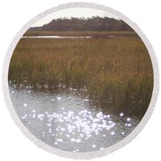 Sparkling  Marsh Round Beach Towel