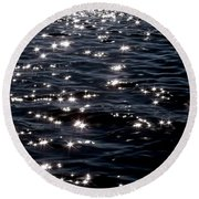 Sparkling Waters At Midnight Round Beach Towel