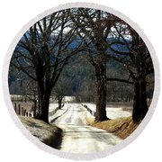 Silence Of Winter Round Beach Towel