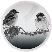 Sparrow Digital Art Round Beach Towel