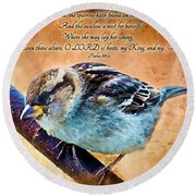 Sparrow With Verse And Painted Effect Round Beach Towel