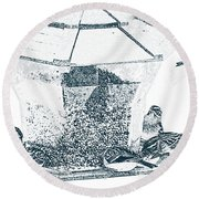 Sparrows In Charcoal Round Beach Towel