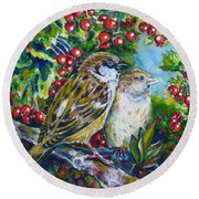 Sparrows On The Hawthorn Round Beach Towel