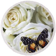 Speckled Butterfly On White Rose Round Beach Towel by Garry Gay