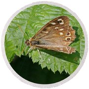 Speckled Wood Butterfly Round Beach Towel