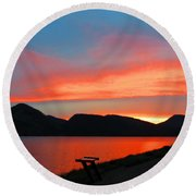 Spectacular Sunset On The Lake. Yellowstone. Round Beach Towel