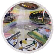 Spectrum Of Artists Palettes, 2003 Round Beach Towel