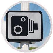 Speed Camera Sign Folkestone Round Beach Towel