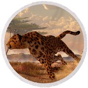 Speeding Cheetah Round Beach Towel by Daniel Eskridge