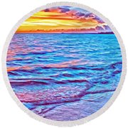 Spencer Beach Sunset Round Beach Towel