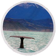 Sperm Whale Diving New Zealand Round Beach Towel