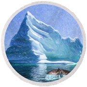 Sperm Whale Fluke In Front Of Iceberg Round Beach Towel