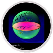 Sphere Equations Maths Poster Black Round Beach Towel
