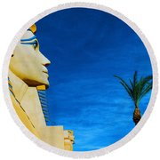 Sphinx And Palm Trees Las Vegas Round Beach Towel