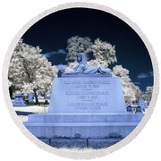 Sphinx Profile Near Infrared Blue And White Round Beach Towel