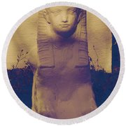 Sphinx Statue Blue Yellow And Lavender Usa Round Beach Towel
