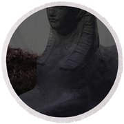 Sphinx Statue Three Quarter Profile Moonlight Usa Round Beach Towel