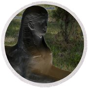 Sphinx Statue Three Quarter Profile Solar Usa Round Beach Towel