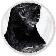 Sphinx Statue Torso Black And White Usa Round Beach Towel