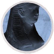 Sphinx Statue Torso Blue And Gray Usa Round Beach Towel