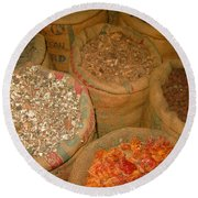 Spices From The East Round Beach Towel